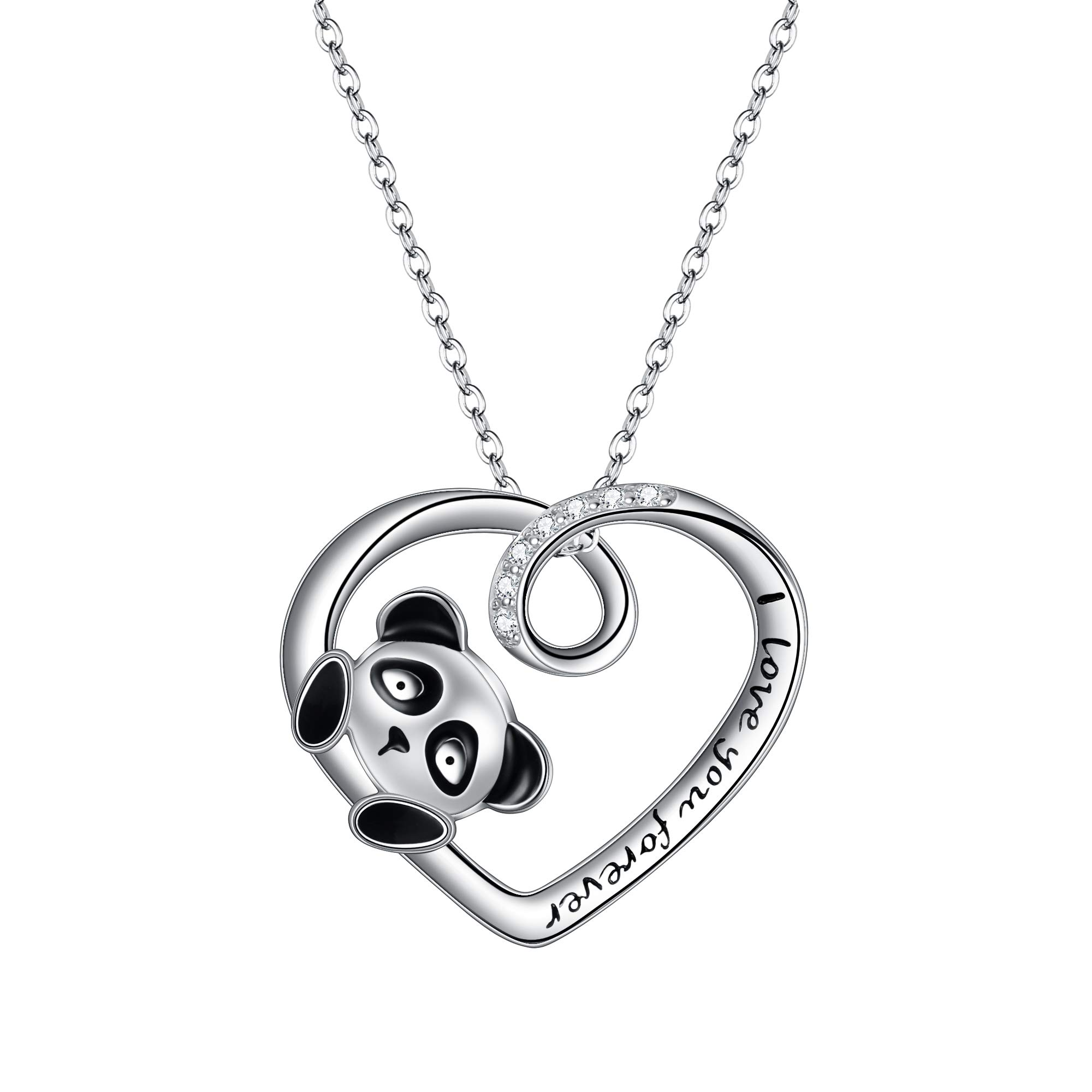 FANZE Panda Necklace 925 Sterling Silver CZ Forever Love Cute Animal Heart Pendant Necklace with Words Engraved Birthday Gift for Women