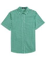 Lars Amadeus Men's Western Shirts Check Button Down Short Sleeve Casual Plaid Shirt
