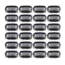 24 pcs/lot 28mm 8-teeth Hair Extension Clips Snap Comb Clips Metal Clips Wig Clips Hair Clips for Wigs Hair Extensions Hairpiece Wig Accessories Clips with Rubber Silicone Back (Black)