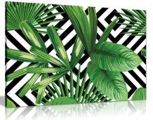 Exotic Jungle Leaves Black & White Geometric Botanical Canvas Wall Art Picture Print for Home Decor (30x20)