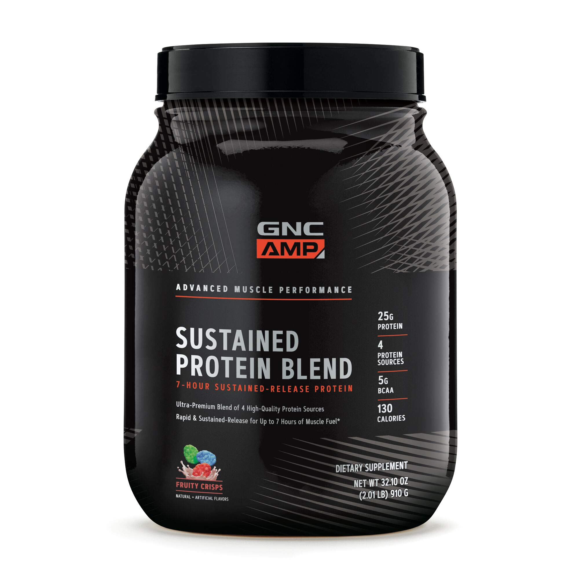 GNC AMP Sustained Protein Blend - Fruity Crisps, 28 Servings, High-Quality Protein Powder for Muscle Fuel*