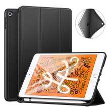 "ZtotopCase for iPad Mini 5 2019 with Pencil Holder, Lightweight Soft TPU Back and Trifold Stand Smart Cover with Auto Sleep/Wake,Protective for iPad Mini 5th Generation 7.9"" 2019 Release,Black"