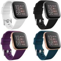 CAVN 4-Pack Sport Bands Compatible with Fitbit Versa 2/Versa/Versa Lite, Silicone Bands for Women Men, Replacement Wristband Watch Strap Accessories, White/Black/Purple/Teal Blue, L (6.5''-8.9'')
