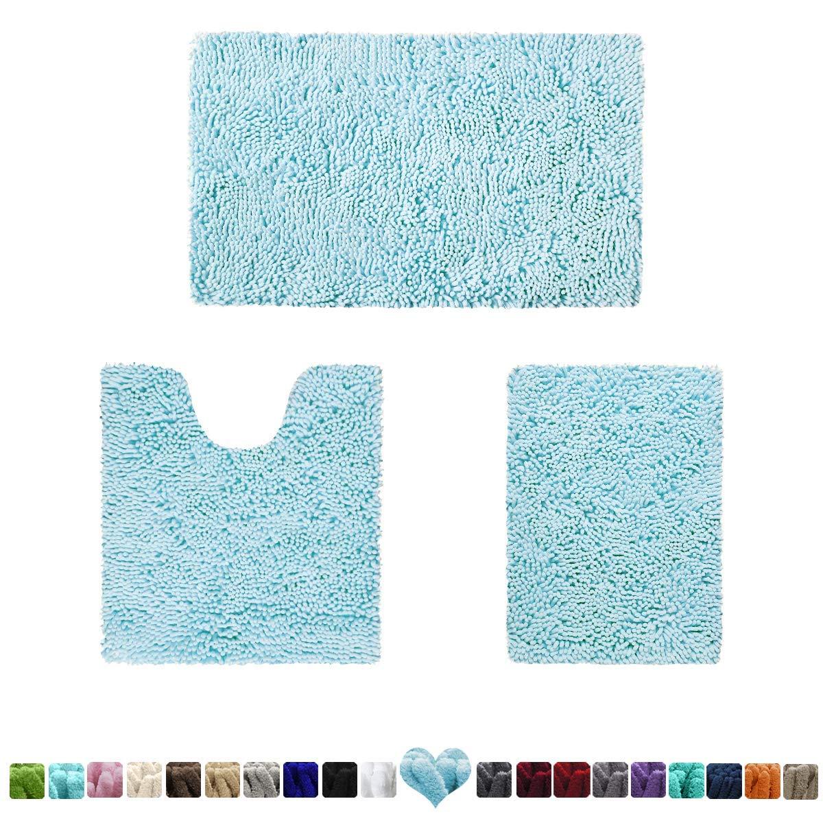 HOMEIDEAS 3 Pieces Bathroom Rugs Set Baby Blue, Luxury Soft Chenille Bath Mats Set, Absorbent Shaggy Bath Rugs & Slip Resistant Plush Carpets Mats for Tub, Shower, Bathroom