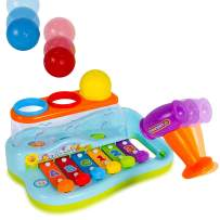 Rainbow Xylophone Baby Piano Pound and Tap Bench - Kids Musical Toy Instrument with Color Sorting Balls and Hammer Pounding for Toddlers