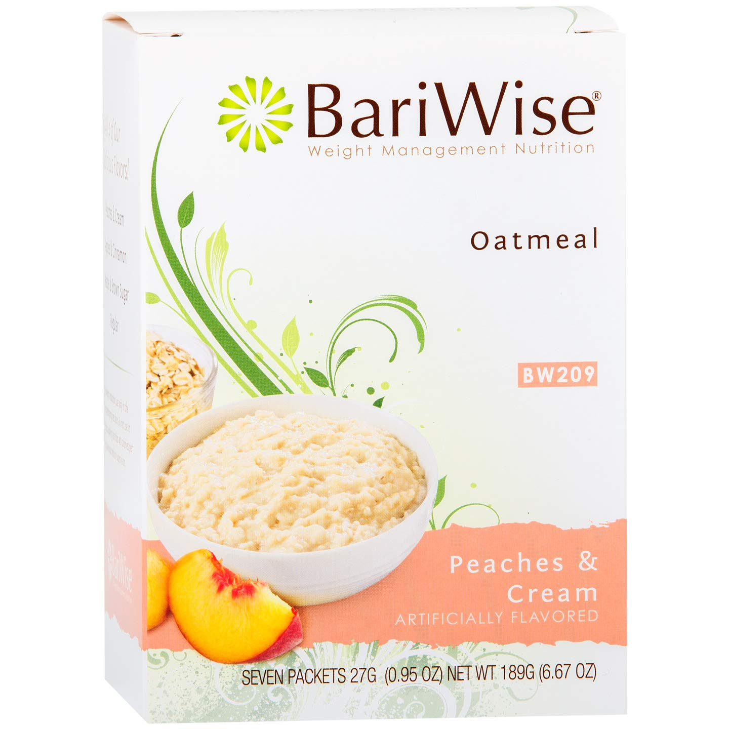 BariWise Low-Carb High Protein Oatmeal / Instant Diet Hot Oatmeals - Peaches & Cream (7 Servings/Box) - Low Carb, Low Calorie, Low Fat, Aspartame Free