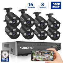 【16 Channel 5MP】 5MP Security Camera Systems, SMONET 5-in-1 16 Channel DVR Video Surveillance System (2TB HDD), 8pcs Wired 5MP Outdoor Waterproof Home Security Cameras, Night Vision, Remote View