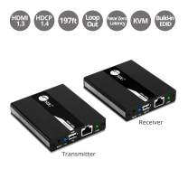 SIIG 1080p HDMI USB KVM Extender Over Cat 5e/6, with PoC Transmitter and Receiver - Near Zero Latency - Signal up to 196ft 60M