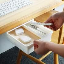 2 Pack Under Desk Drawer, Punch-free Hiding Self Adhesive Under Desk Pencil Drawer Under Table Storage Box (M+M)