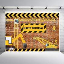 Fanghui 7x5FT Boy's Construction Theme Party Photography Backdrops Bricks Builder Dump Trucks Happy Birthday Banner Decorations Photo Background Studio Props Supplies