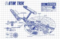 "Inked and Screened SP_SYFI_EnterpriseInfo_WG_17_A Star Trek U.S.S Enterprise Infographic Print, 11"" x 17"", White Grid-Blue Ink"
