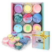 Bath Bombs Gift Set for Women, Set of 6 Bath Bombs and 3 Scented Candles,Bubble Fizzies Spa Bath Kit,Shea and Cocoa Dry Skin Moisturize,Birthday Valentines Anniversary Christmas Gifts for Mom,Her,Kids