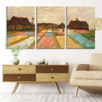 "wall26 3 Panel Canvas Wall Art - Bulb Fields by Vincent Van Gogh - Giclee Print Gallery Wrap Modern Home Art Ready to Hang - 24""x36"" x 3 Panels"