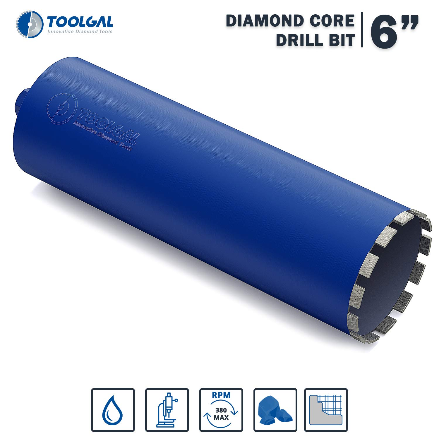 "TOOLGAL Diamond Core Drill Bit 6"" for Masonry - Wet drilling of Concrete/Reinforced concrete - Laser Welded Diamond Segmented - 11/4"" UNC for fixed or hand-held core drilling machines"