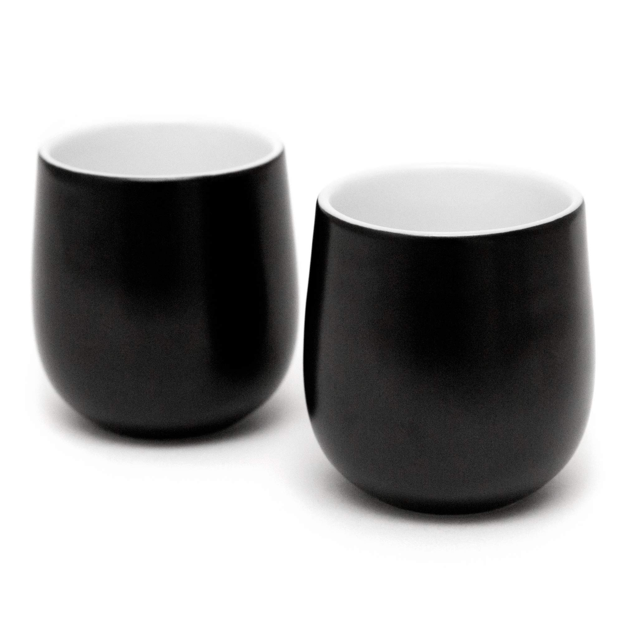 Double Walled Espresso Cups, Dobbelt Set of 2, 2 Ounce Black - Insulated Ceramic Cups for Latte, Cappuccino, Tea - Modern, Contemporary, Art Deco Design - Box Set, by Kop & Hagen
