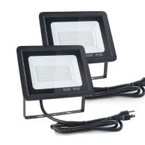 Gopretty 2 Pack 50W Outdoor LED Floodlight Fixture, Waterproof IP66,5ft Cable with Plug, 6000lm 6000K Daylight White Super Bright Commercial Security Lighting for Yard, Garden, Garages