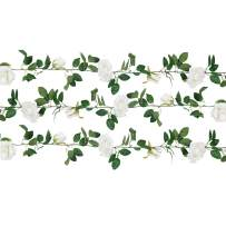 U'Artlines 3PCS Total 19.7Ft Artificial Rose Vine Silk Flower Garland Fake Hanging Plants for Indoor Outdoor Home Wedding Arch Garden Wall Decor(3PCS, White