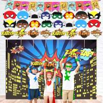 Backdrop Party Supplies Kit - 7ft Photography Backdrop, 16 Masks, 8 Photo Booth Props and 12 Flags Decorations
