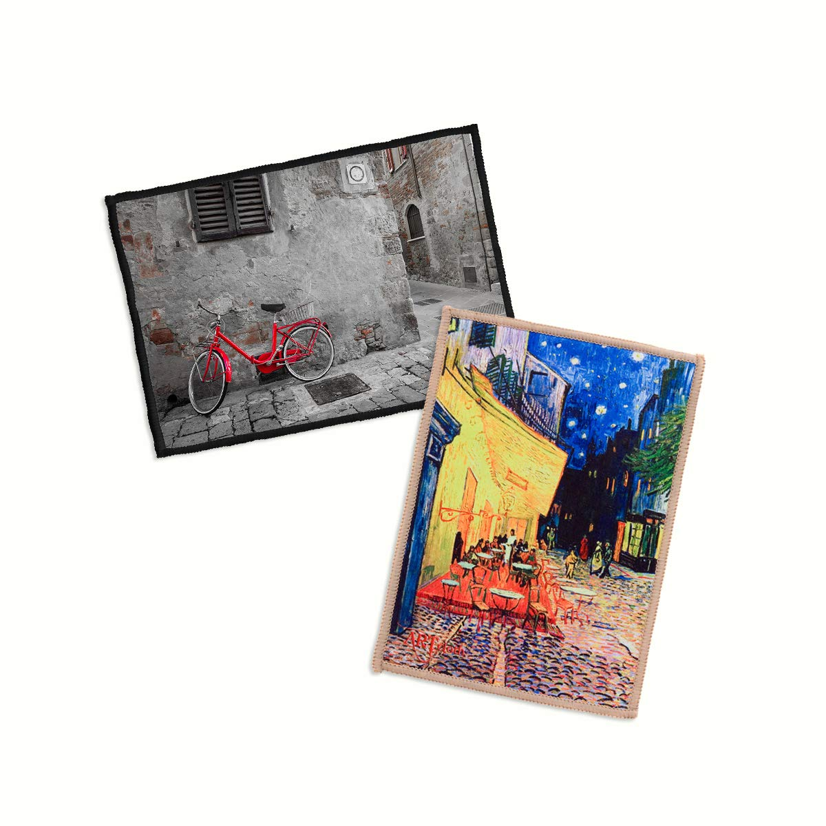 2-Pack Lynktec Smartie Microfiber Cleaning Cloth for iPad and Touch Screen (Like Riding A Bike, Van Gogh Cafe Terrace)