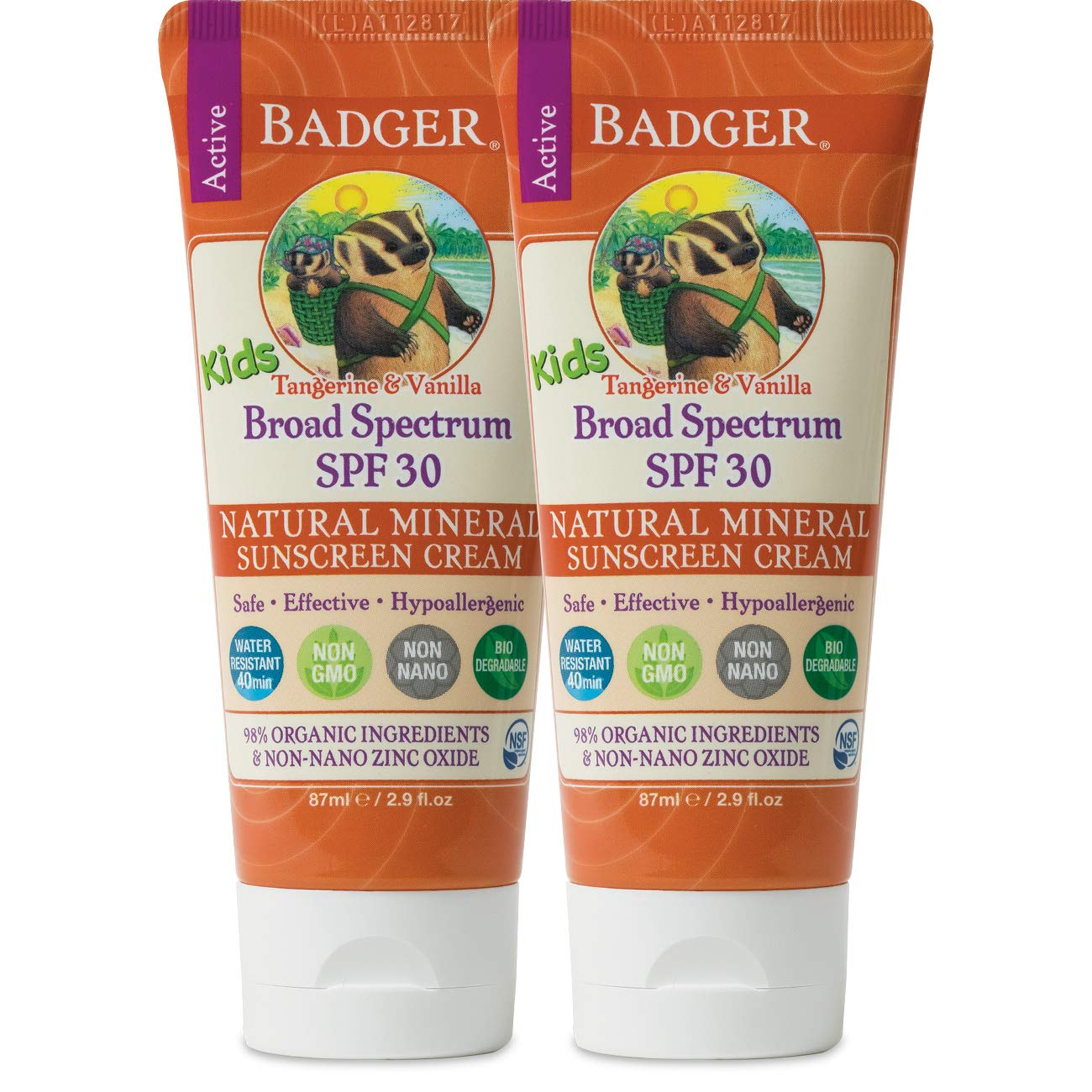 Badger - SPF 30 Kids Sunscreen Cream with Zinc Oxide for Face and Body, Broad Spectrum & Water Resistant Reef Safe Sunscreen, Natural Mineral Sunscreen with Organic Ingredients 2.9 fl oz (2 pack)