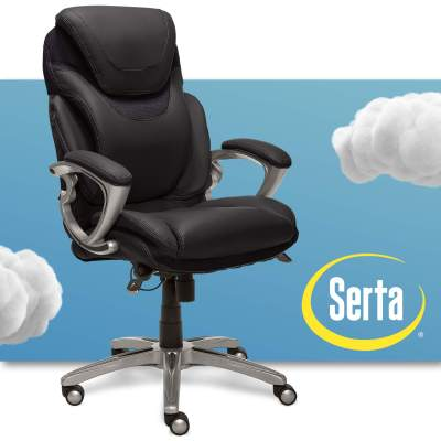 Serta Air Health And Wellness Executive Office Chair High Back Big And Tall Ergonomic For Lumber Support Task Swivel Bonded Leather Black