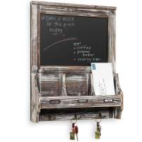 MyGift Rustic Torched Wood Wall Mounted Mail Sorter Key Hook Organizer Rack with Memo Bulletin Chalkboard Sign