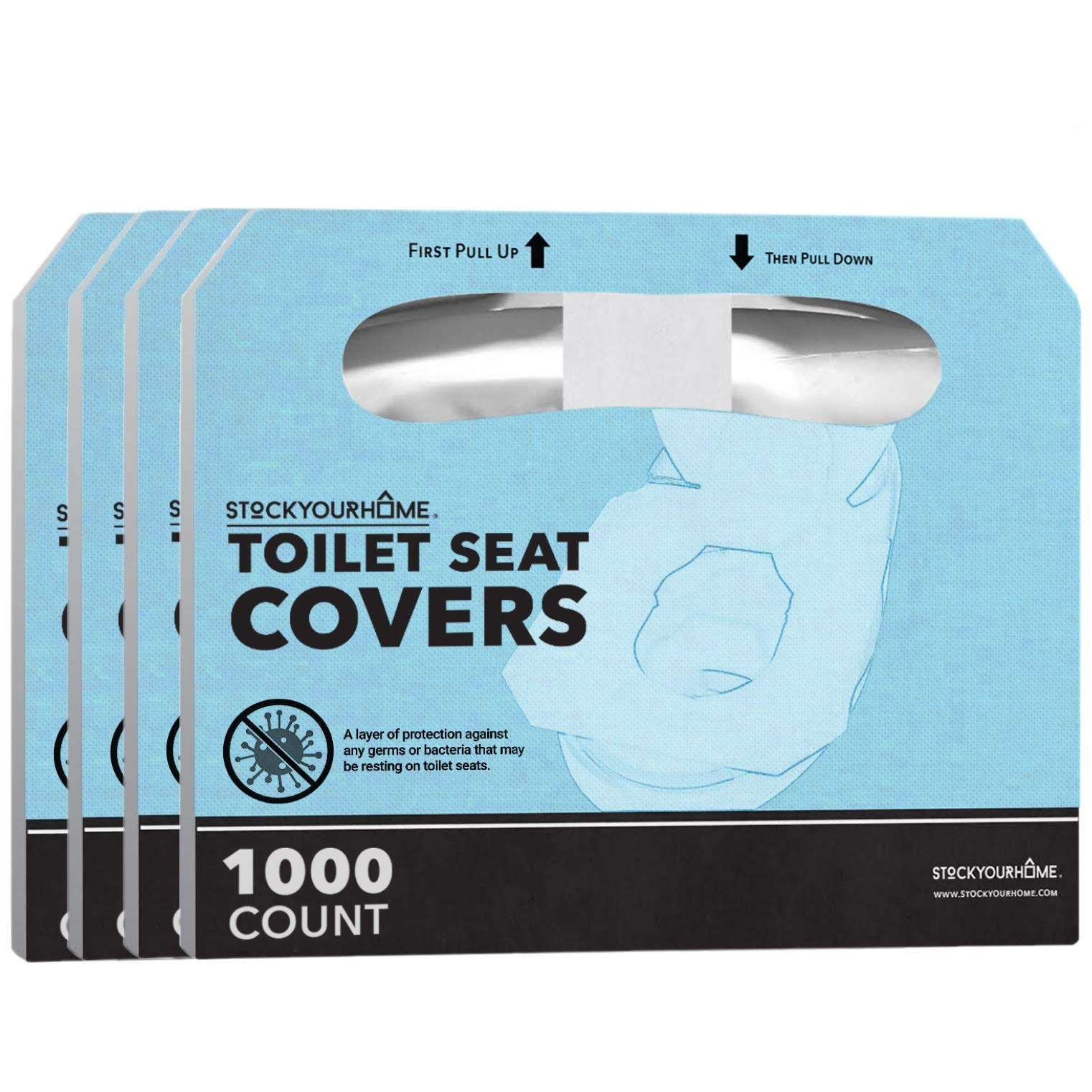 Stock Your Home Paper Toilet Seat Covers Disposable (1000 Count) Half Fold Paper Toilet Covers Disposable for Toilet Seat Cover Dispenser - Paper Toilet Liners Flushable Seat Covers 14 X 16