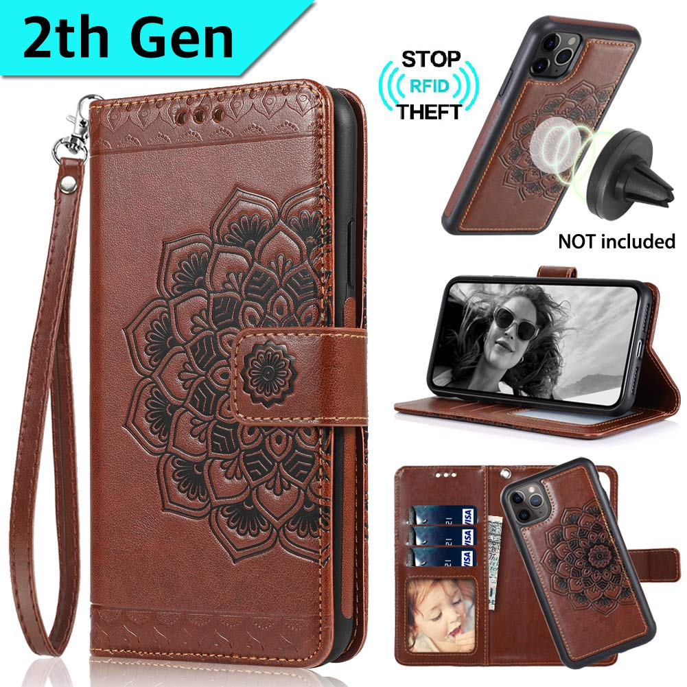 CASEOWL iPhone 11 Pro Max Case Wallet with Magnetic Detachable Slim Case Fit Car Mount,Card Holder,Kick Stand,RFID Protection,Strap,Mandala Embossed Leather Wallet Case for iPhone 11 Pro Max,Brown