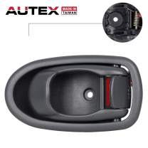 AUTEX 1pc Gray Interior Door Handle (Front Rear Right Passenger Side RH) Compatible with Kia Spectra 2001 2002 2003 2004 0K2N1-58330A75 0K2N158330A75