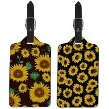 Coloranimal PU Leather Luggage Tags Suitcase Labels for Women Girls Fashion Sunflower Flower Pattern Credit Cards Holders Set of 2