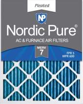 Nordic Pure 16x30x1 MERV 7 Pleated AC Furnace Air Filters, 16x30x1M7-2, 2 Piece