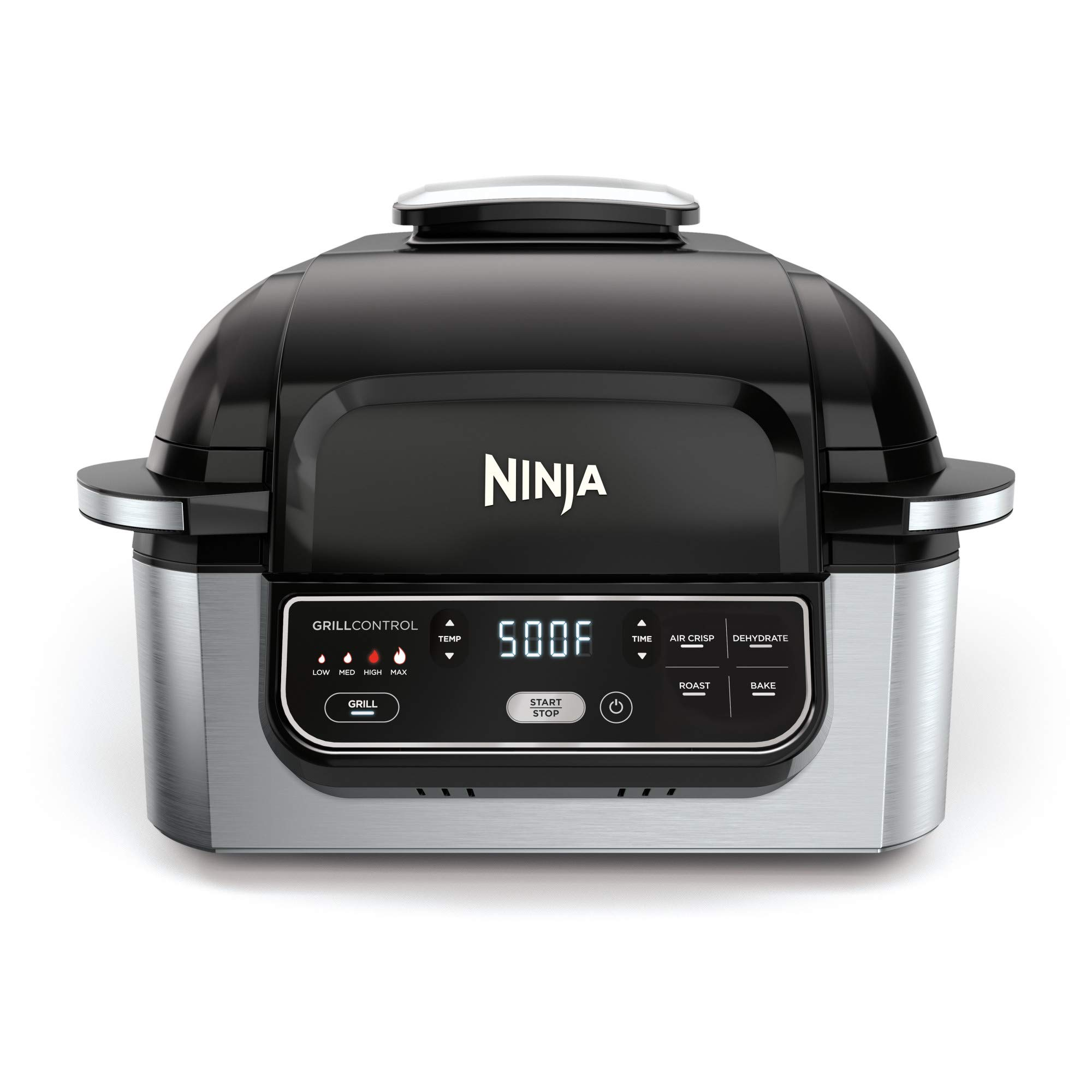 """Ninja Foodi 5-in-1 4-qt. Air Fryer, Roast, Bake, Dehydrate Indoor Electric Grill (AG301), 10"""" x 10"""", Black and Silver"""
