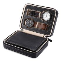 EleLight Watch Travel Case Portable Leather Zippered Watch Storage Box Display Organizer Case, Best Gift for Men, Women (4 Slot, Black)
