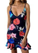 PRETTYGARDEN Women's One Off Shoulder Floral Printed Ruffle Chest Bodycon Midi Dress (X-Large, Z-Navy)