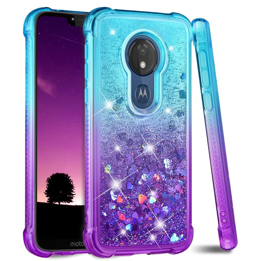Ruky Moto G7 Power Case, Gradient Quicksand Series Glitter Flowing Liquid Floating TPU Bumper Cushion Soft TPU Girls Women Phone Case for Motorola Moto G7 Power (Teal Purple)