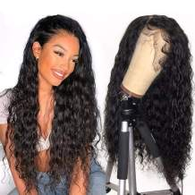 RECOOL Hair Water Wave Lace Front Wigs Human Hair with Baby Hair 150% Density Unprocessed Brazilian Hair Wet and Wavy Human Hair Lace Front Wigs (10 inches, 150% Density 13x4 Wig)