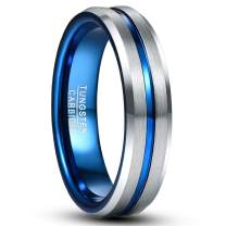 TUNGSTORY 6mm Tungsten Wedding Band for Women Men Blue / Rose Gold Plated Groove Polished Beveled Edge Comfort Fit Size 7-12