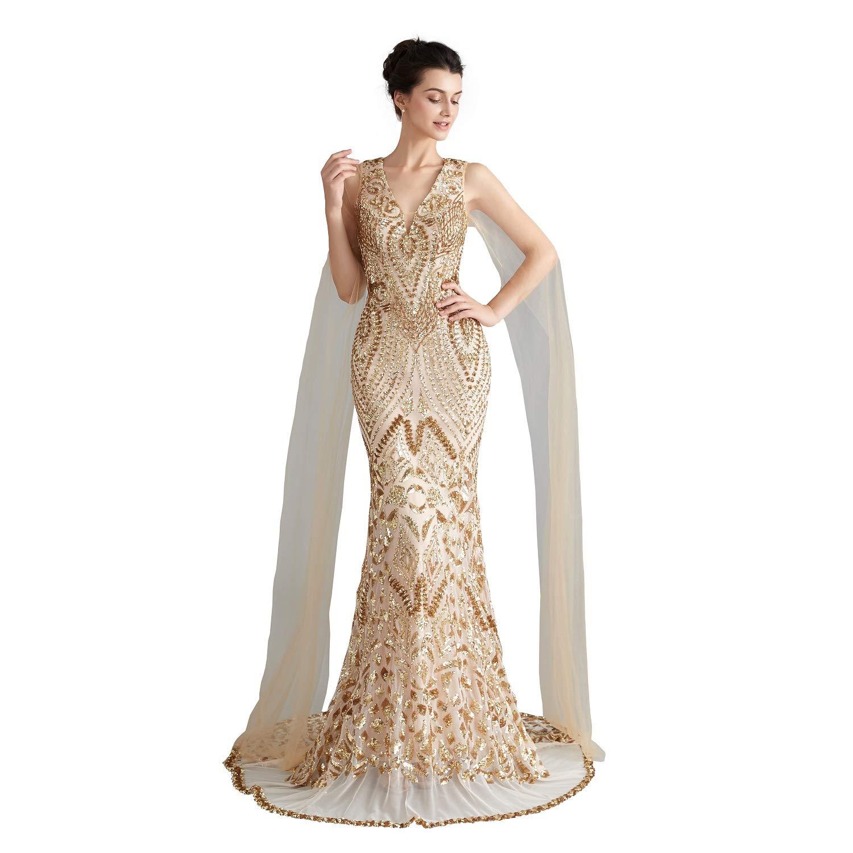 Engerla Sequin Prom Dress Mermaid Evening Dresses Silver Party Maxi Dress V Neck Bridal Party Dress