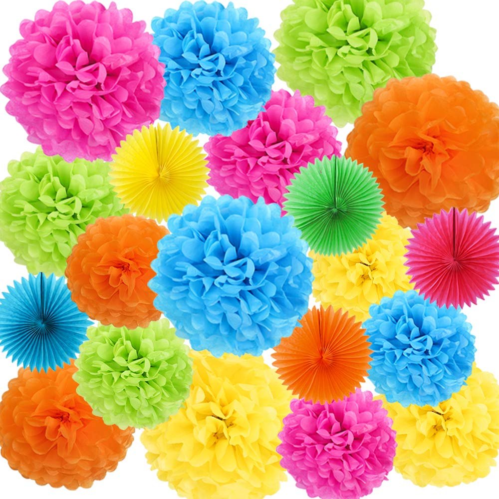 ZJHAI 20pcs Rainbow Paper Pom Poms and Paper Fans, 5 Colors, for Shop Wedding Party Decorations