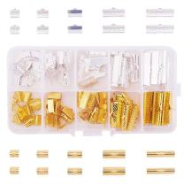 PH PandaHall 100Pcs Assorted Sizes of Mixed Color Ribbon Clamp End Crimps Bracelet Bookmark Leather Pinch Crimps Sets Size 8-25x6-8x5mm in Box for Jewelry Craft Supplies