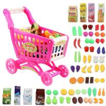 deAO Childrens Shopping Trolley Basket for Toy Shop Kitchen Over 80pcs Play Food Role Play Educational Toy (Pink)