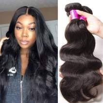 Ali Julia Hair 10A Brazilian Virgin Body Wave Hair Weave 3 Bundles 100% Unprocessed Human Hair Weft Extensions Natural Color 95-100g/pc(8 10 12 inch)