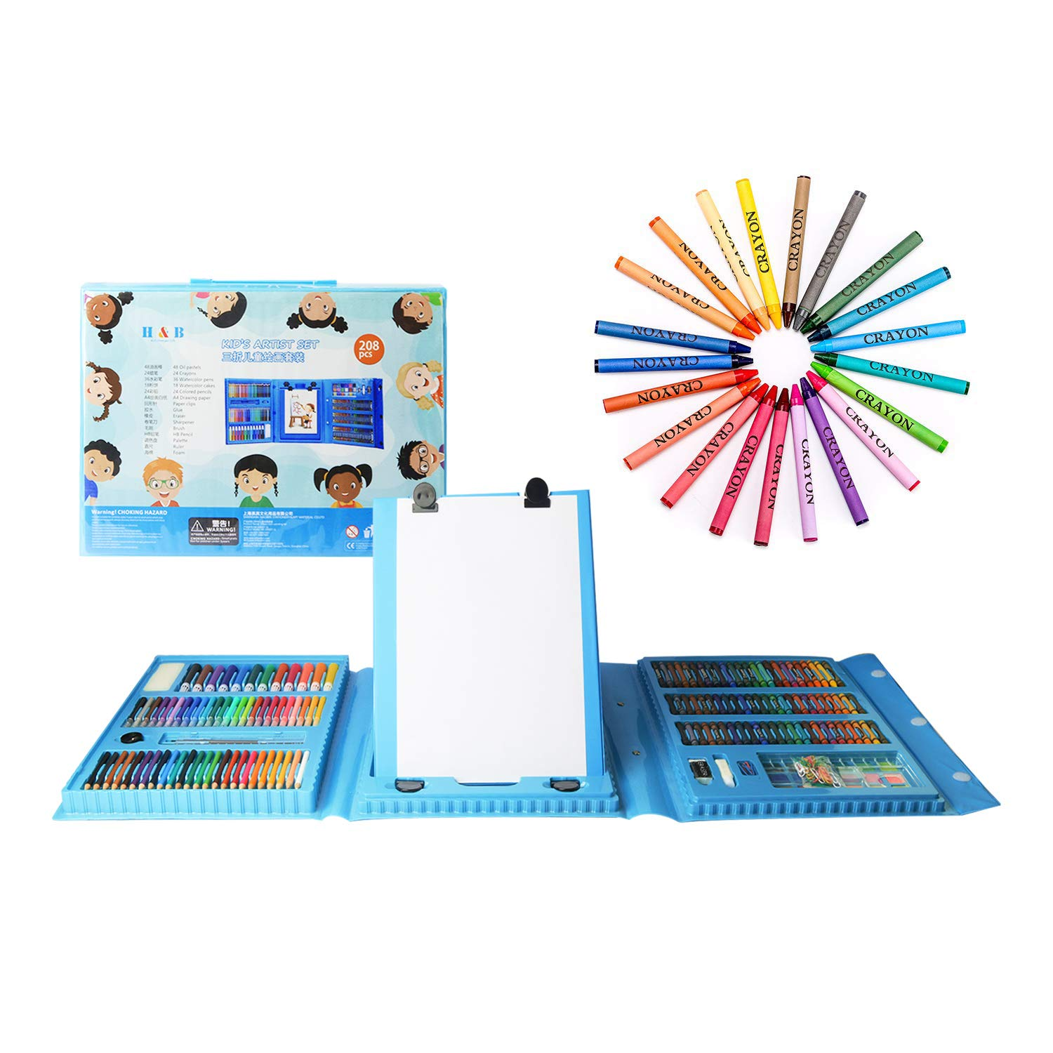 H & B Kids Art Supplies 208-Piece for Painting & Drawing, Art Set Case, Portable Art Box, Oil Pastels, Crayons, Colored Pencils, Markers, Great Gift for Kids 3-12, Girls, Boys, Teens, Beginners, Blue