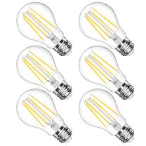 LANGREE A19 LED Light Bulb, Antique Light Filament Bulbs, 6W(Equivalent 60 Watt), 4000K Daylight White, E26 Medium Base Led Bulb, Non-Dimmable, Standard Replacement, Pack of 6