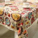 chengsan Vintage Square Cotton Linen Lace Sun Flower Tablecloth, Washable Tablecloth Dinner Picnic Table Cloth Home Decoration Assorted Size (36 X 36 Inch (90x90CM), Sunflower)