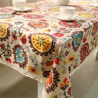 chengsan Vintage Square Cotton Linen Lace Sun Flower Tablecloth, Washable Tablecloth Dinner Picnic Table Cloth Home Decoration Assorted Size (40 X 55 Inch (100x140CM), Sunflower)