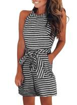 Happy Sailed Women Summer Striped Sleeveless Back Zipper Wide Short Pants Rompers Jumpsuits