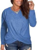 DOLNINE Womens Plus Size Long Sleeve Tee Tops Round Neck Cross Hem Blouse Shirts