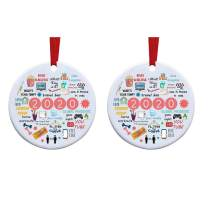 weispo 2PCS 2020 Christmas Ornament, Commemorative Ornament, 2020 A Year to Forget Ornament, Xmas Creative Round Ornament for Xmas Tree Ornament Hanging Accessories (A)
