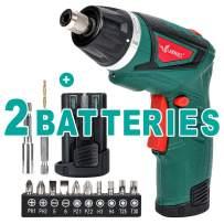 LANNERET Electric Screwdriver Hand Drill 2x Pack 1500mAh 7.2V Li-Ion Battery MAX Torque 9N.m Rechargeable Cordless Screwdriver with 6+1 Torque,10pcs Drill Bits LED Light,Green